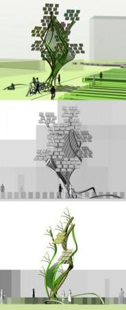 """Mobiliario urbano para las sociedades de la información y conocimiento en el siglo XXI. El objetivo del proyecto ha sido crear un proyecto que se comporten como un """"organismo"""" , siguiendo las […]"""