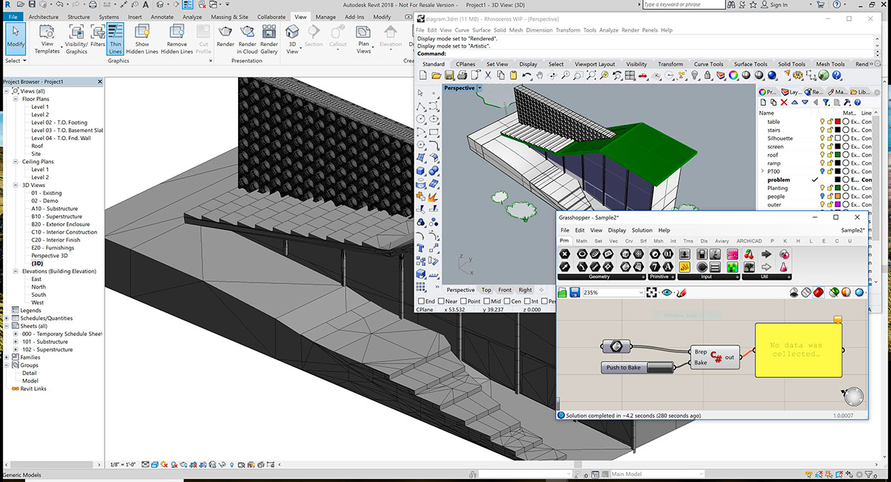 AutoCAD, bim, Buildinginformationmodeling, curso grasshopper barcelona mexico, curso revit barcelona mexico, curso rhinoceros barcelona mexico, Grasshopper, Interoperabilidad, Interoperability, revit, Rhino-Inside, Rhinoceros