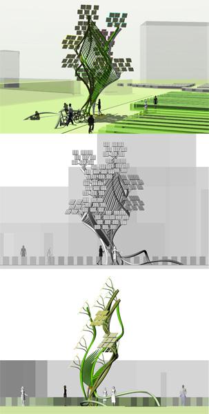 Árboles artificiales urbanos, bioluminescent tree