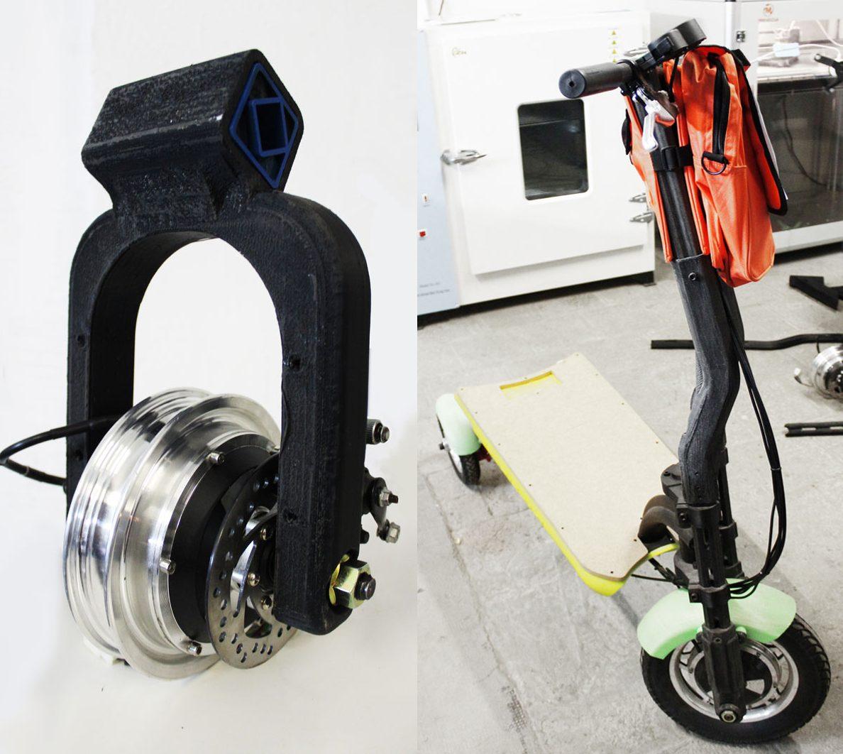 Patinete impreso en 3D, piezas de alta resistencia.